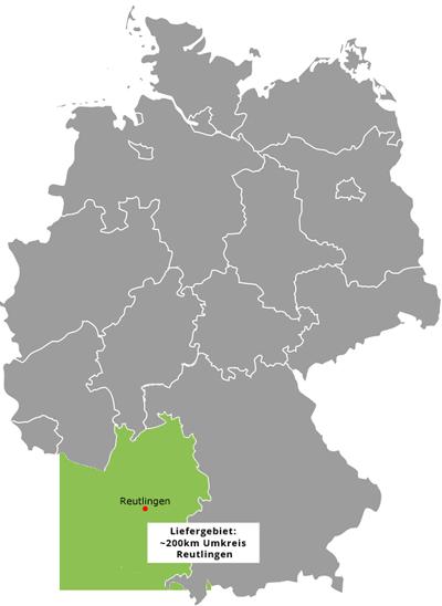 Liefergebiet und Standort HK Service GmbH Reutlingen